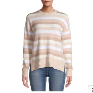 Time & Tru Stripe and Solid Crewneck Cozy Sweater